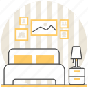 bed, bedroom, design, interior, room icon