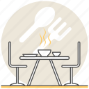 design, dining, dinner, interior, restaurant, room icon