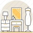design, dressing, dressingroom, interior, mirror, room, table icon