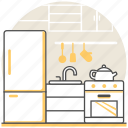 design, interior, kettle, kitchen, refrigerator, sink, stove icon