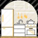 design, interior, kettle, kitchen, refrigerator, sink, stove