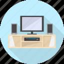 furniture, interior, monitor, screen, table, television, tv icon