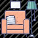 armchair, furniture, lamp, sofa icon