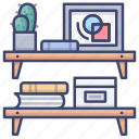 bookshelf, interior, shelves, wall icon