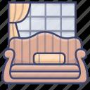 camelback, couch, interior, sofa