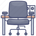 chair, desk, furniture, office icon