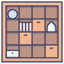 bookcase, cabinet, interior, shelves icon