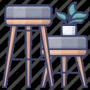 chair, furniture, interior, stool icon
