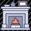 interior, chimney, winter, fireplace icon