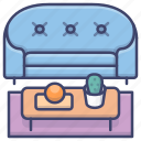 interior, living room, sofa, table icon
