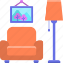 chair, furniture, living, room icon