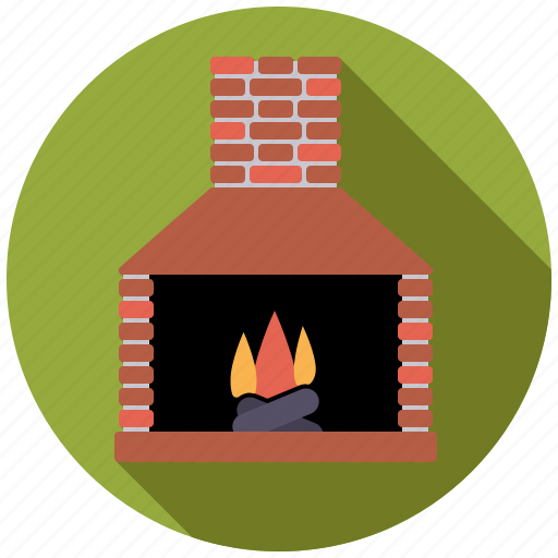 chimney, fire, fireplace, flame, interior, log fire icon