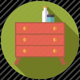 cosmetics, decoration, drawers, dresser, furniture, interior icon