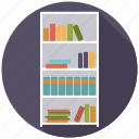 books, bookshelf, furniture, interior, shelf icon