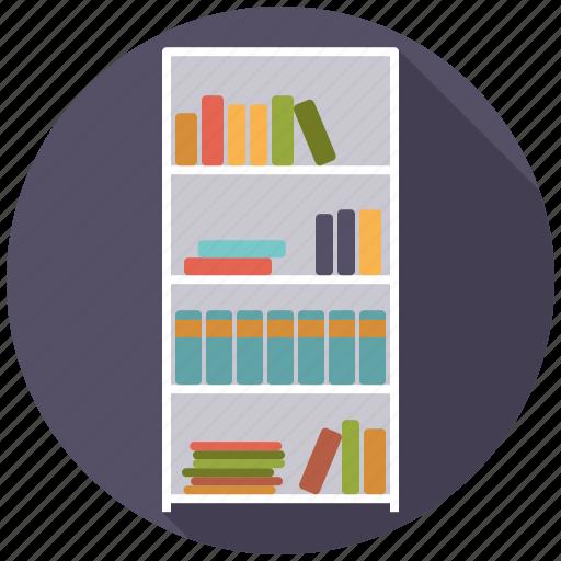 books, bookshelf, furniture, interior, shelf icon
