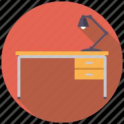 desk, desk lamp, furniture, interior, lamp, light icon