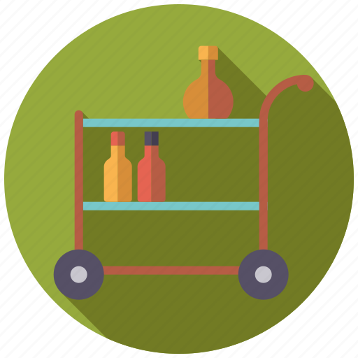 bar, bottles, decoration, furniture, interior, trolley icon