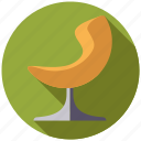 chair, furniture, interior, lounge chair, retro, revolving chair icon