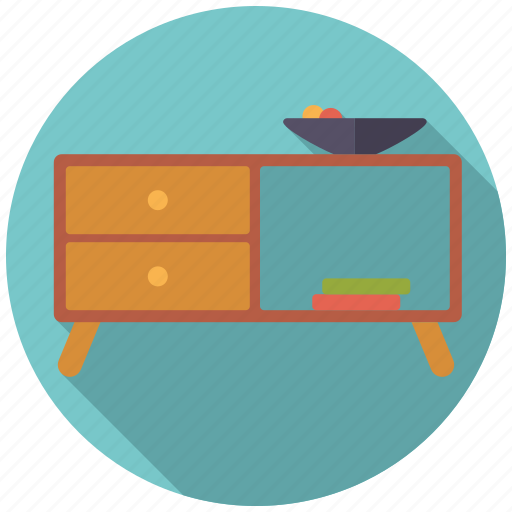 cupboard, decoration, drawers, fruit bowl, furniture, interior icon