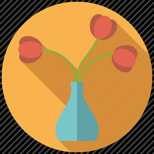 decoration, flower, interior, tulips, vase icon
