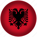 albania flag, circle, flag, national icon