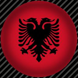 albania flag, circle, flag, national icon