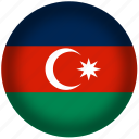 azerbaijan, circle, flag, world icon
