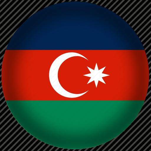 azerbaijan, circle, flag, world icon