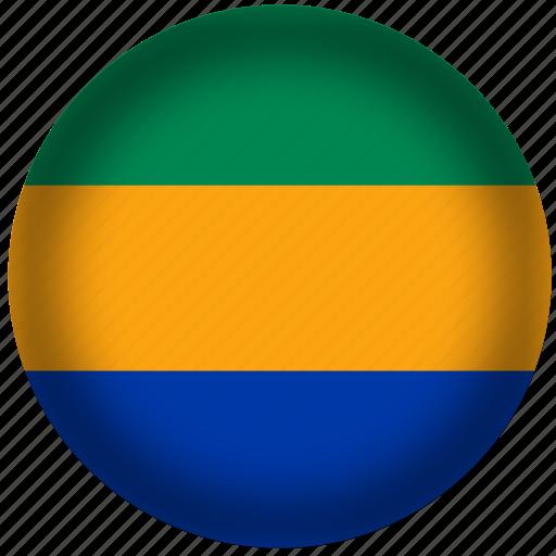 circle, flag, gabon, world icon