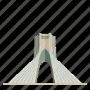 architecture, azadi tower, building, iran, landmark, tehran, travel icon
