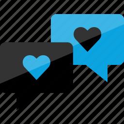 bubbles, heart, sms icon