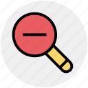magnifier, magnifying glass, search out, search tool, searching tool, zoom out icon