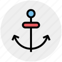 anchor, sea, sea anchor, ship anchor, ship hook icon
