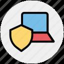 internet security, internet security concept, laptop, laptop with shield, security concept icon