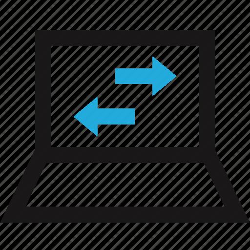 activity, arrow, internet, laptop, left, right icon