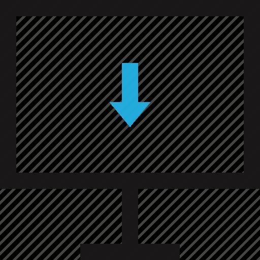 arrow, computer, data, download, internet icon