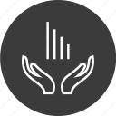 business, data, growing, hands, open, user icon