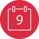 appointment, calendar, event, nine, number icon