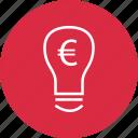 brilliant, bulb, euro, idea, light, sign icon