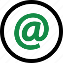 address, at, contact, internet, send, sign icon