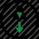 arrow, down, internet, profile, user icon