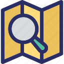location searching, magnifier, map, map search, map with magnifier icon