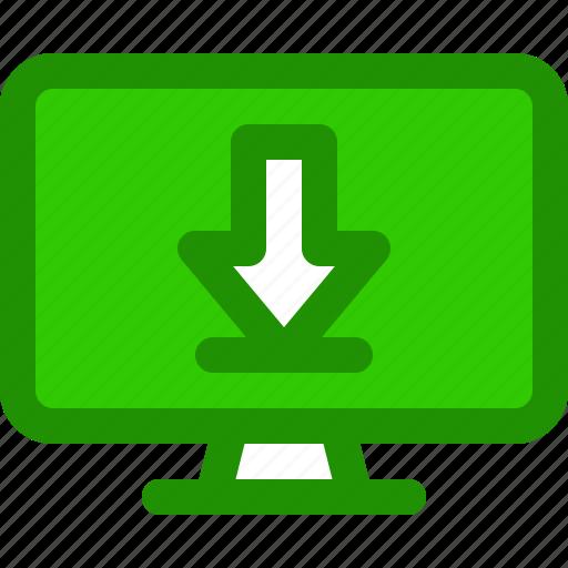 arrow, computer, download, file, internet icon