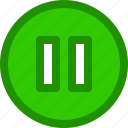 circle, hold, music, pause, playlist icon