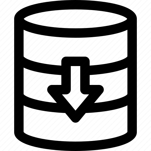 arrow, batch, database, download, server icon
