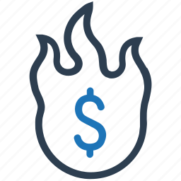 damage, financial, loss, money, money burning, waste icon