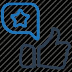 feedback, like, message bubble, positive, thumb up icon