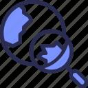 earth, globe, internet, marketing, search icon