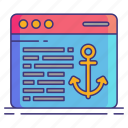 anchor, marketing, text icon
