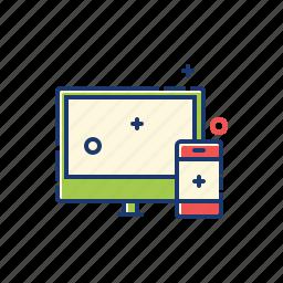 desktop, hardware, mobile, monitor, pc, responsive, smart phone icon